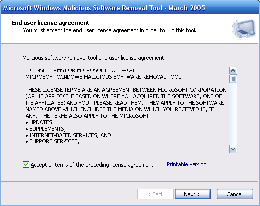 Microsoft Malicious Software Removal Tool 5.58